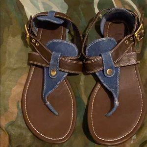 Brown and Dark Wash Strap on Sandals